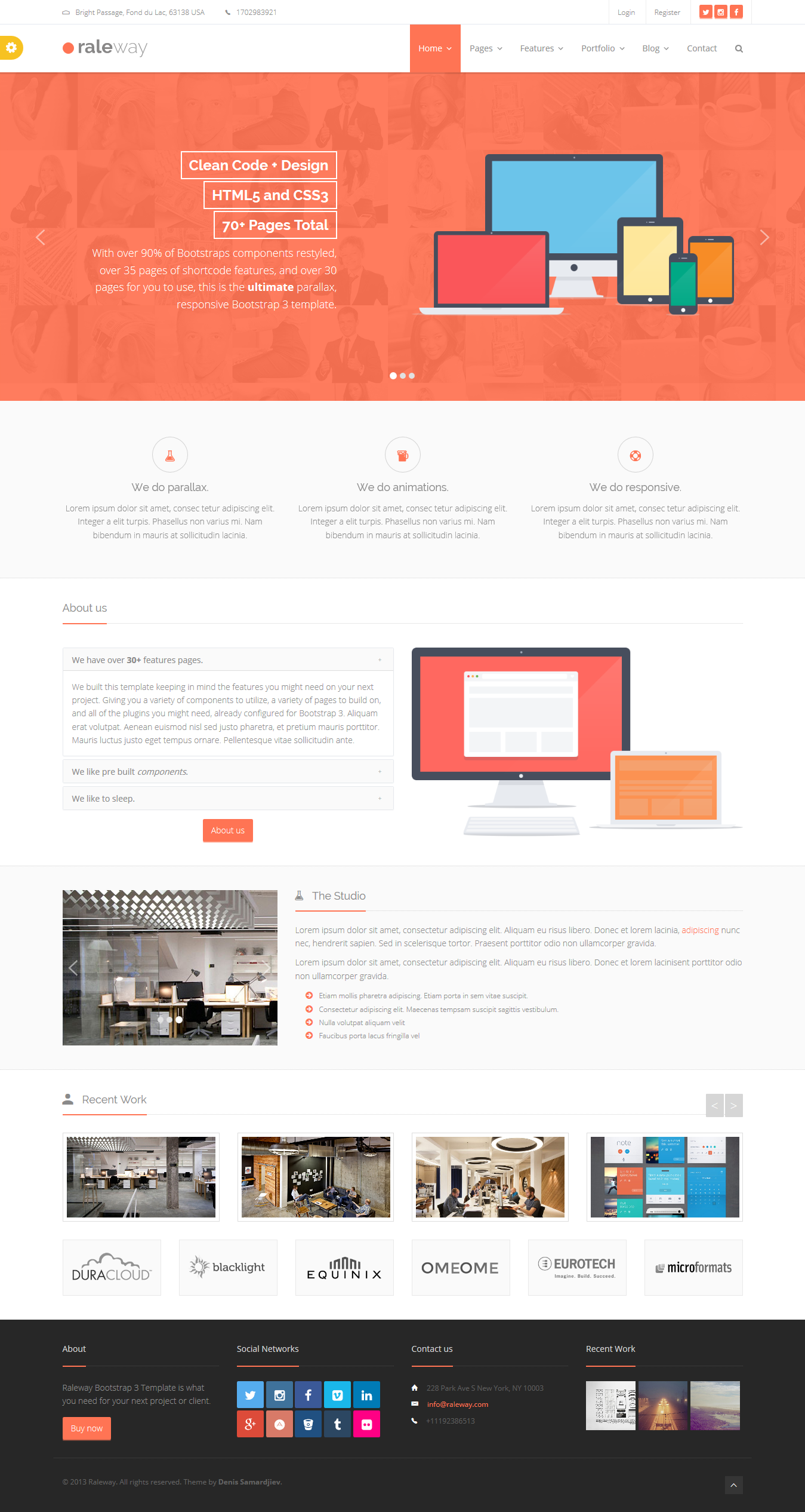 Raleway - Mega Bootstrap Template | Web project, Template and Site ...
