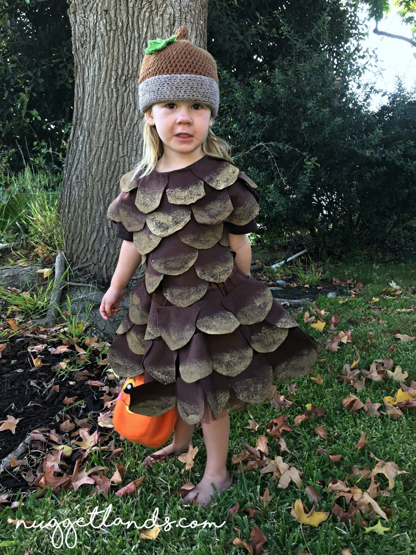 Pine Cone Halloween Costume DIY tutorial and pictures