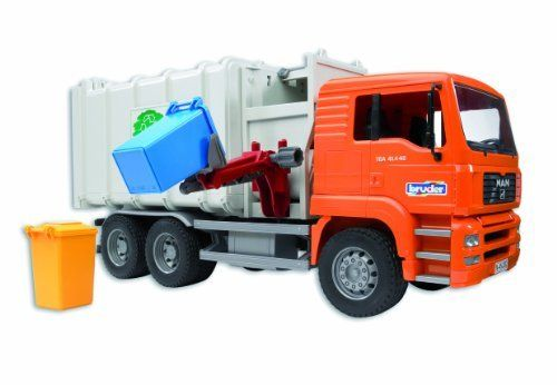 Bruder Toys Man Side Loading Garbage Truck Orange By Bruder Http Www Amazon Com Dp B0009u7jnw Ref Educational Toys For Kids Cool Toys For Boys Garbage Truck