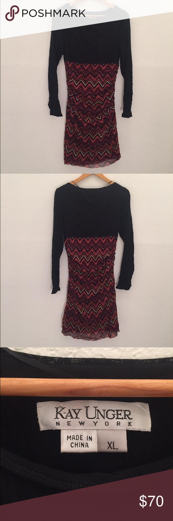 Kay unger long sleeve dress Chevron print nylon dress! Fall ready 🍂 Kay Unger Dresses Long Sleeve