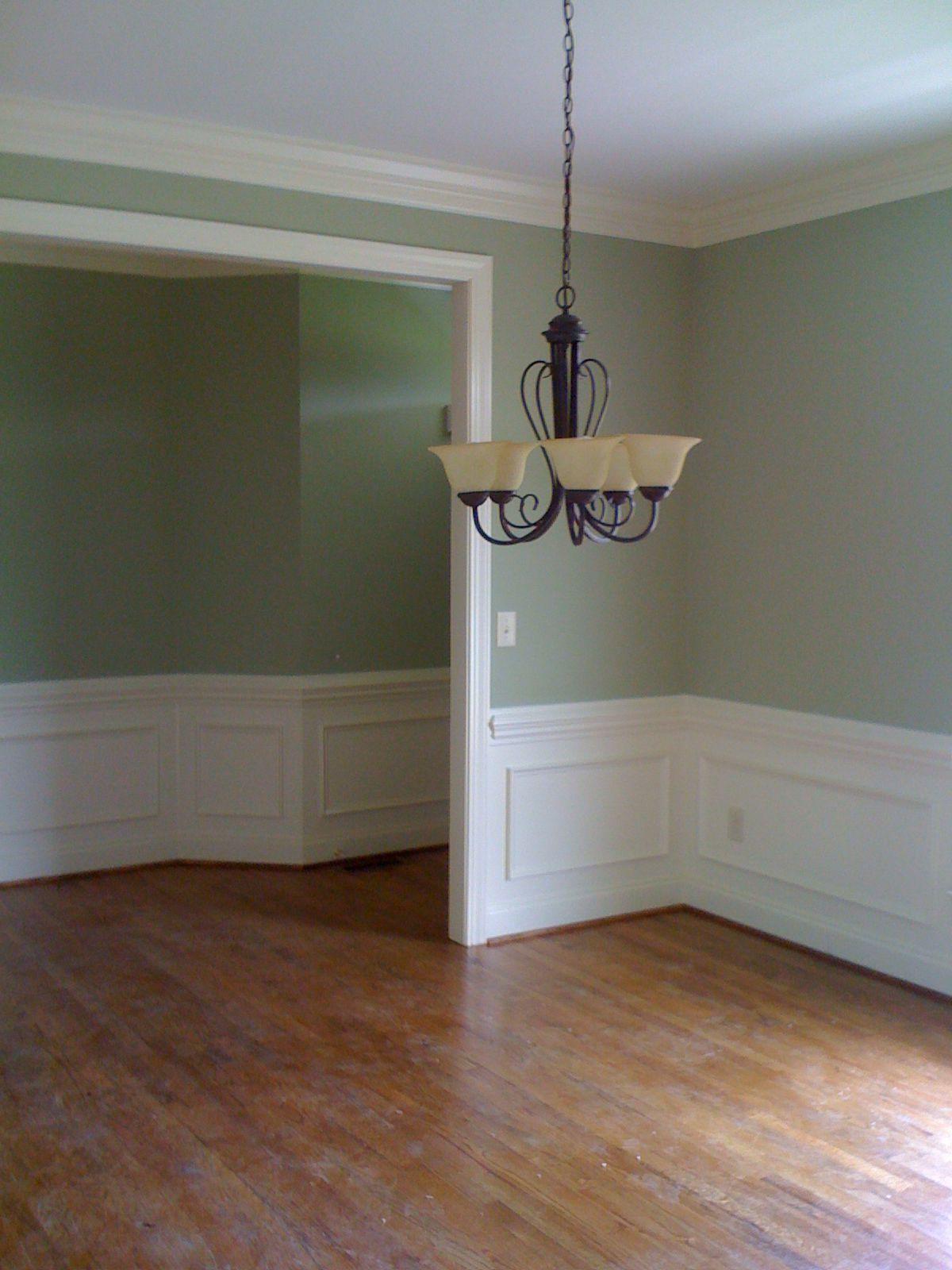 Sherwin Williams Softened Green and Dover White   Design   Pinterest