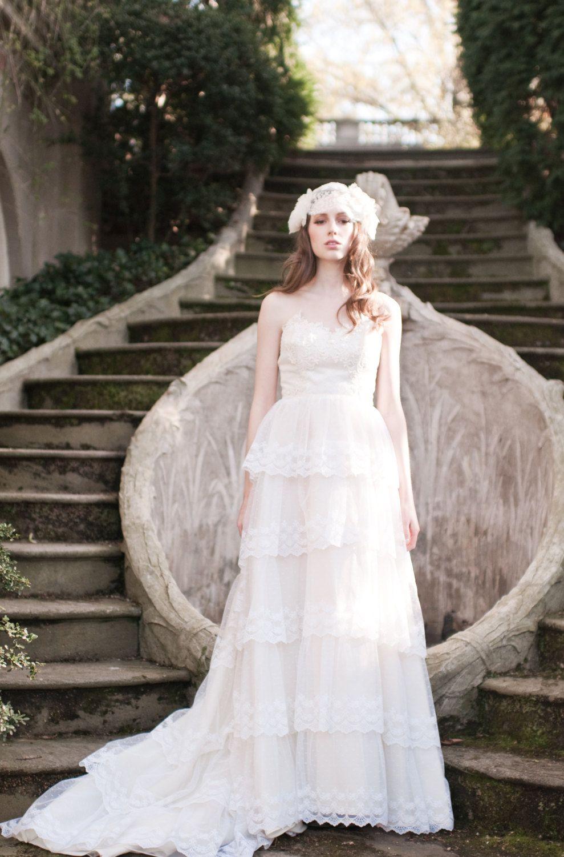 Lace Wedding Dress / 1960s Wedding Dress / Sheath / Net