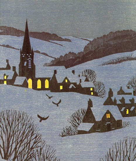 """Gloucestershire"", Christmas card by Andrew Davidson, woodcut."