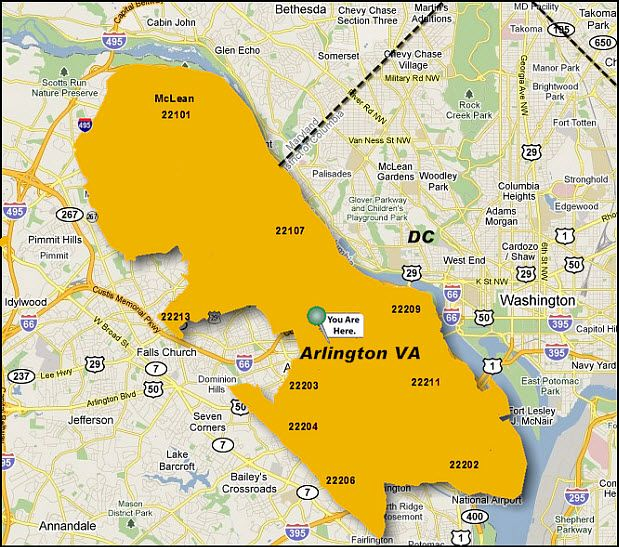 arlington virginia zip code map virginia map