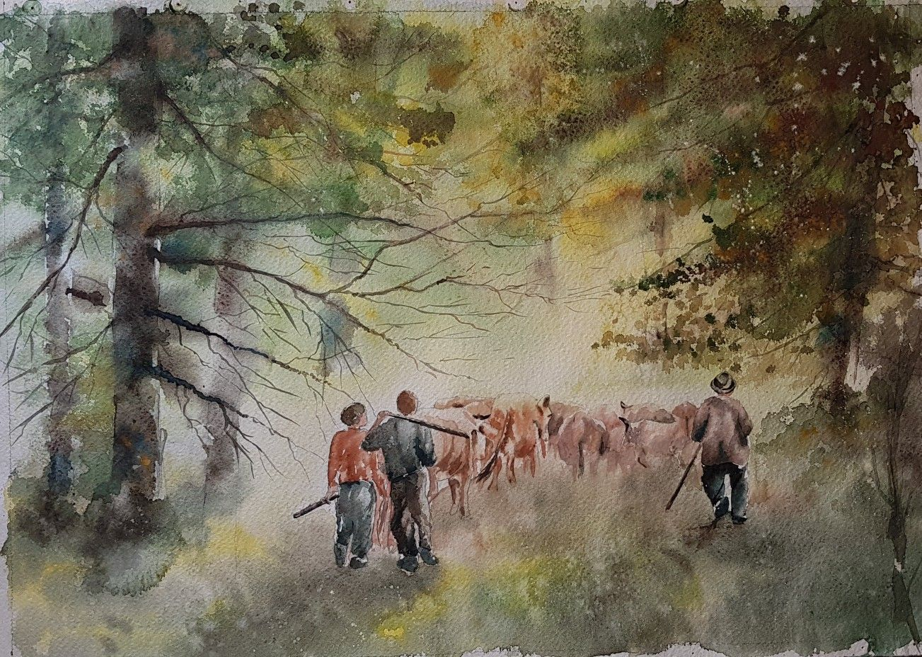 The Shepherds Watercolour Painting 52 5 37 Cm By Hamid Javadi Art Teaches You The Philosophy Of Life It Shows Y Painting Art Watercolour Painting