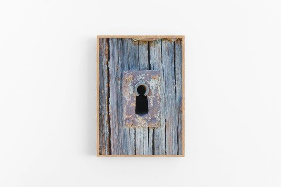 Photo of Printable wall art: Antique keyhole and weathered wooden door in rural France. Home interior pictures. Instant download. Rustic home decor