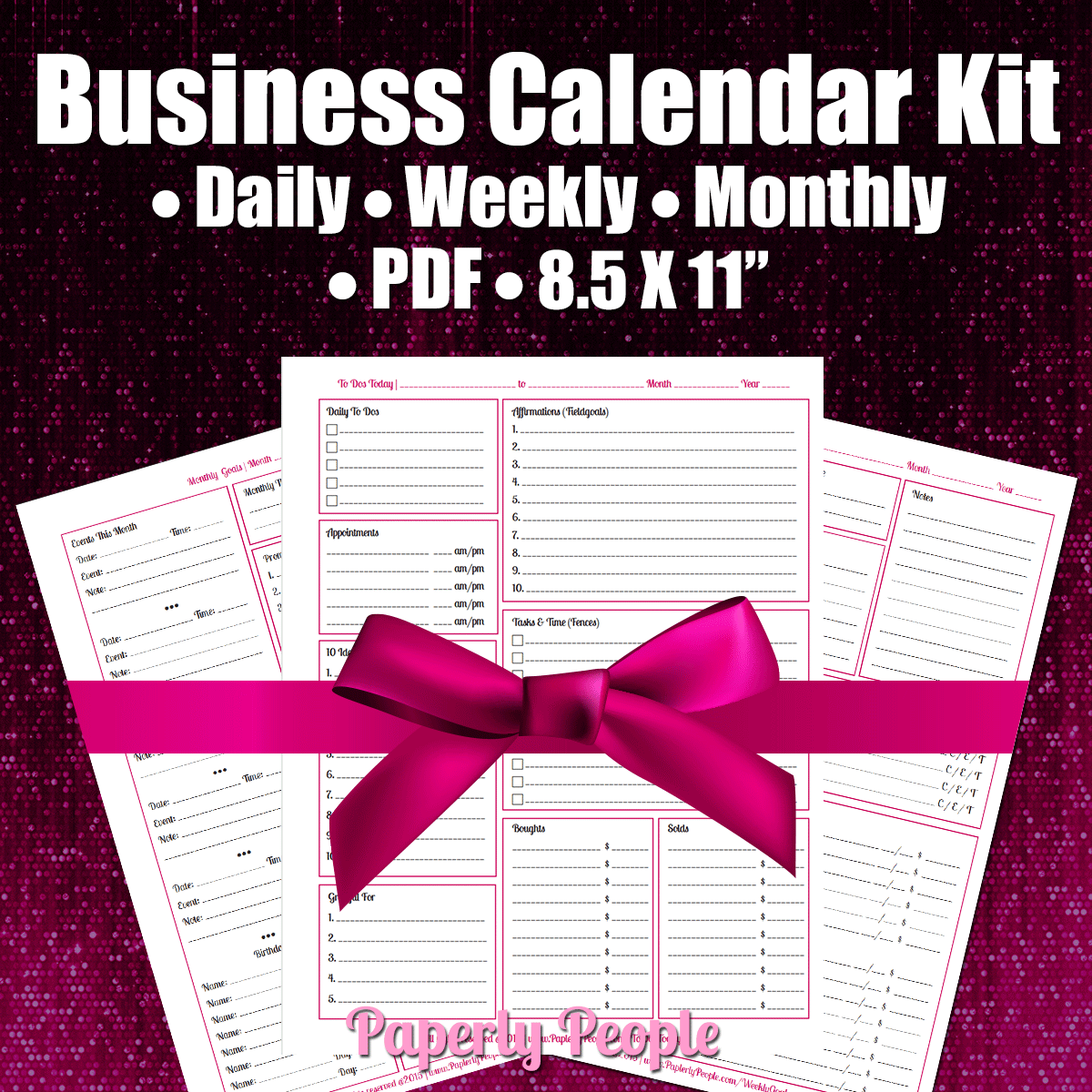 Business Calendar Kit Get All 3 Printable Planner Pages