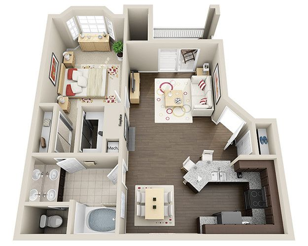 Vie at the Medical Center-Eiffel-770, $1,175 w/d Decoración - Plan De Maison Gratuit