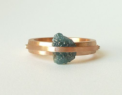 Rose gold natural rough blue diamond engagement ring Love the raw