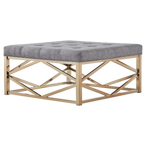 Fontaine Champagne Dimple Tufted Geometric Tail Ottoman