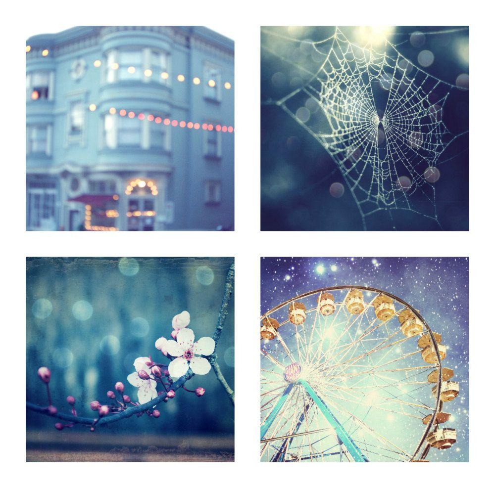 Blue photography set indigo blue decor nature bokeh whimsical