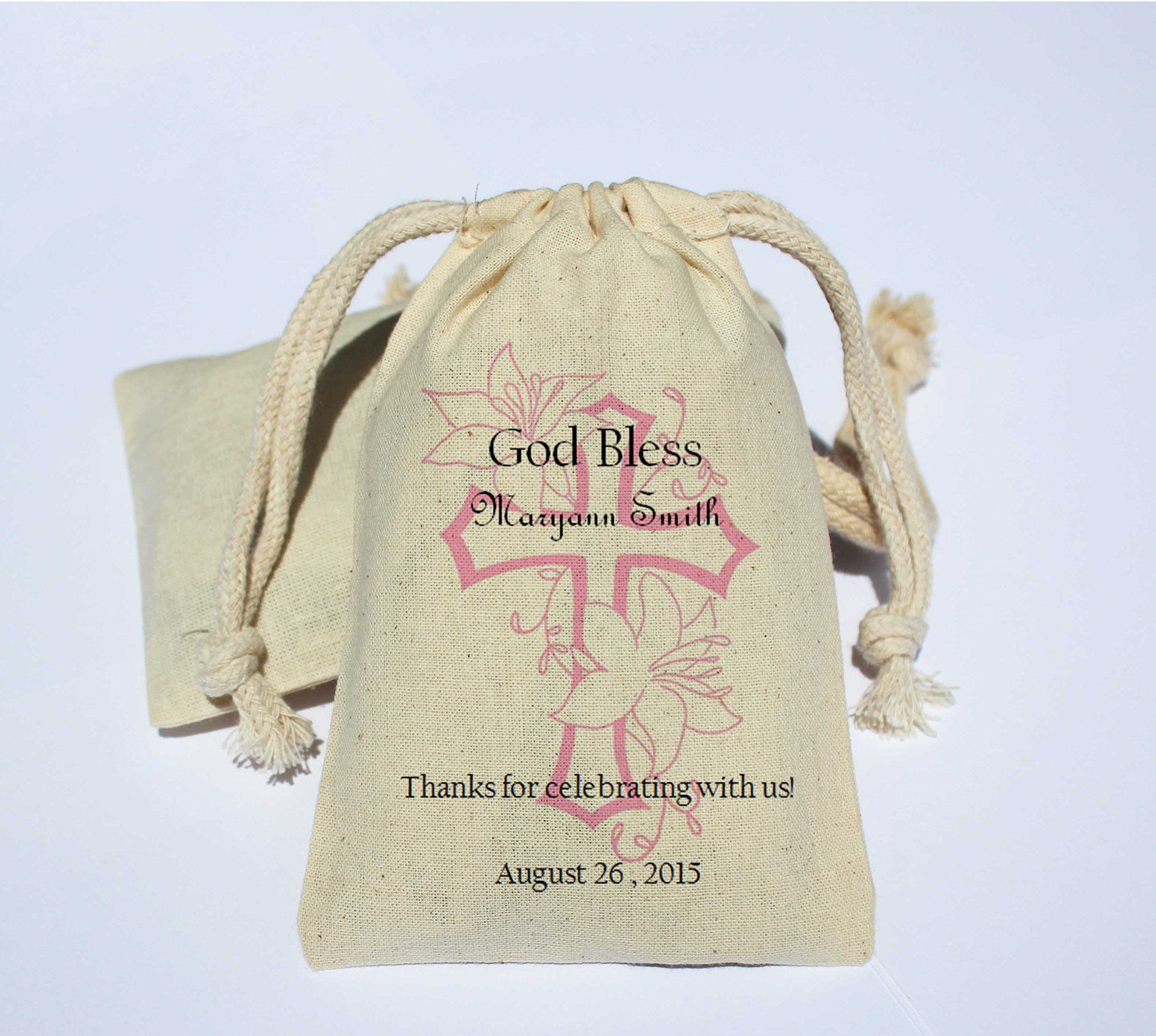 Personalized Religious Cotton Muslin Favor Bag - Personalized Favor ...