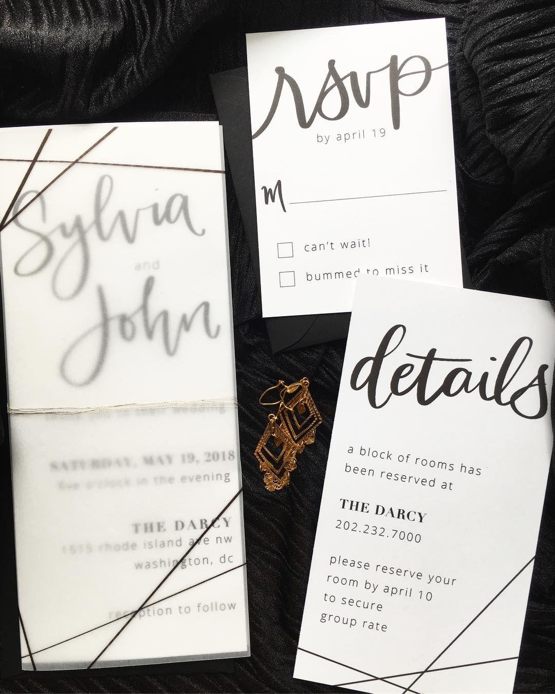 Modern calligraphy geometric wedding invitation with printed vellum