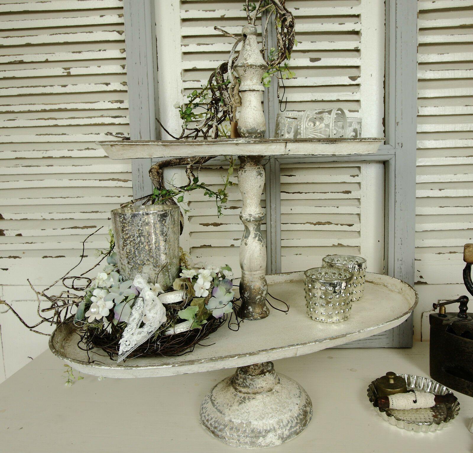 Etagere Metall Creme Patina Nostalgie Shabby Vintage Oval Deko Landhaus
