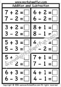 Addition and Subtraction – One Worksheet | Penjumlahan 1 | Pinterest