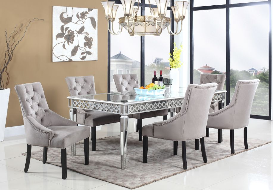 T1840 Sophie Silver Mirrored 5 Pcs Dining Room Set Glamorous
