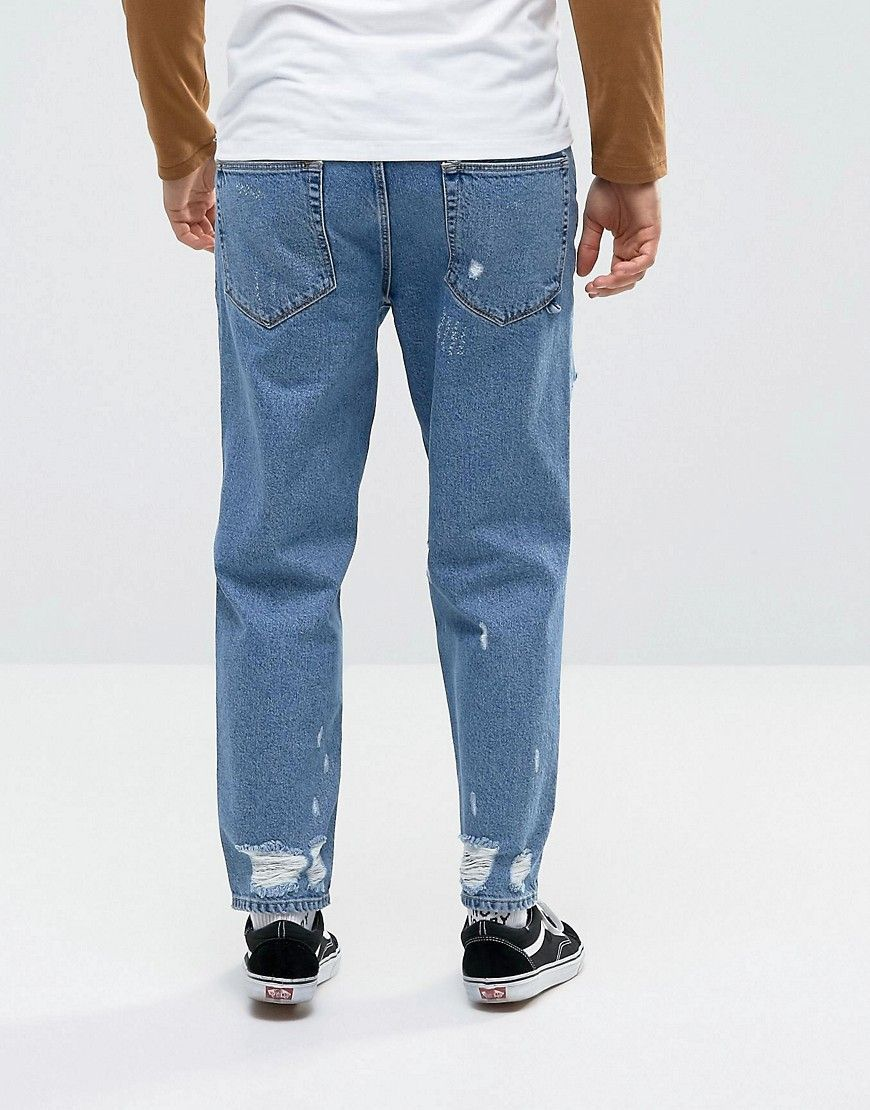 Skater Jeans In Vintage Mid Wash Blue With Heavy Rips - Mid wash vintage Asos 1wGq4dF