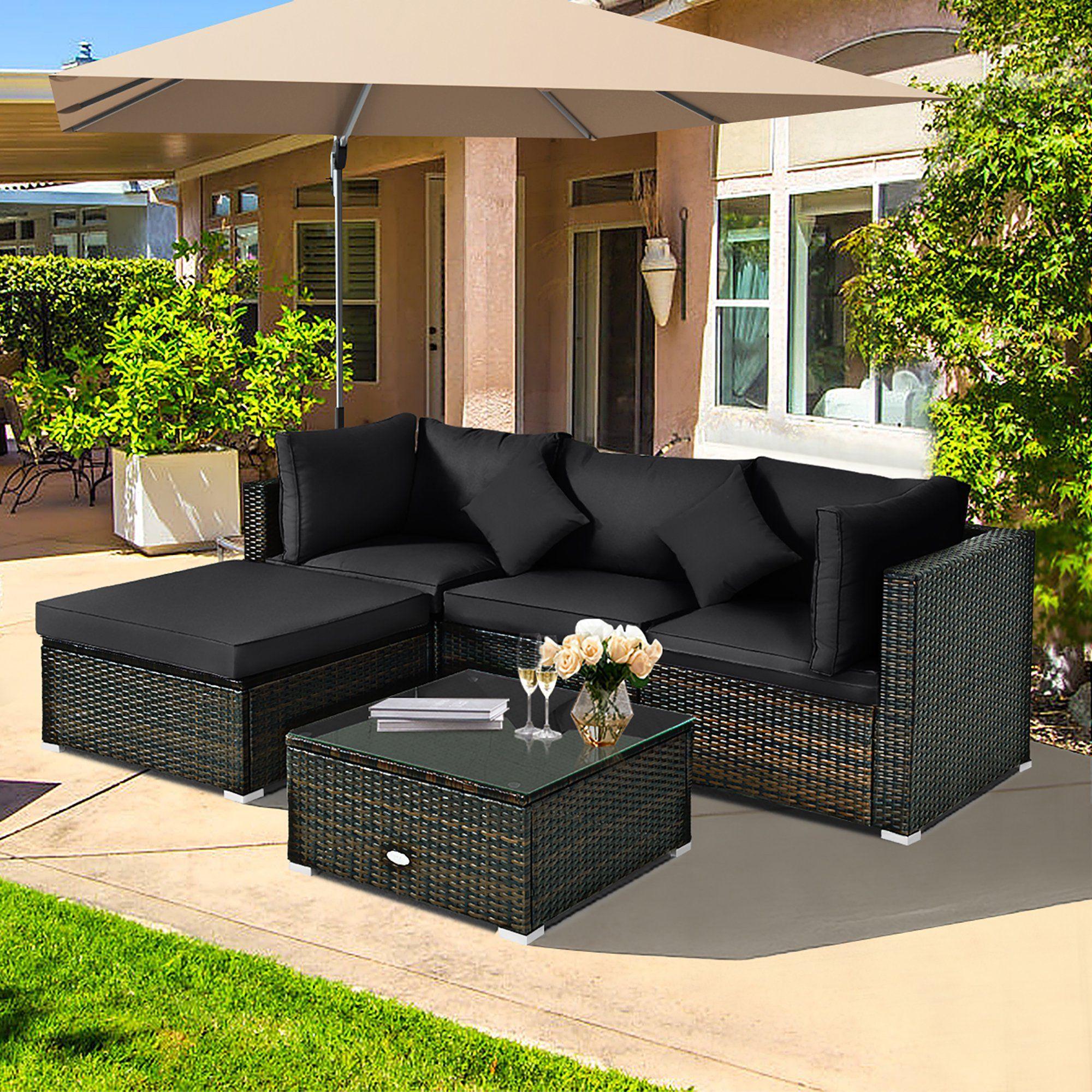 costway 5pcs outdoor patio rattan
