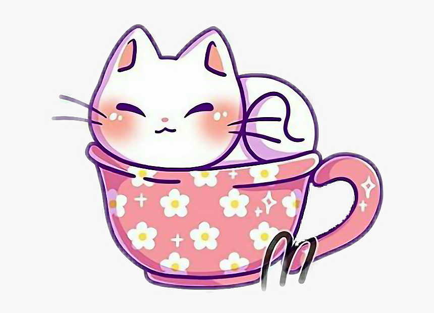 Kawaii Cute Kitty Cat Kitten Teacup Whitecat Cute Kawaii Cat Drawing Hd Png Download Kawaii Cat Drawing Kitten Drawing Cute Cat Drawing