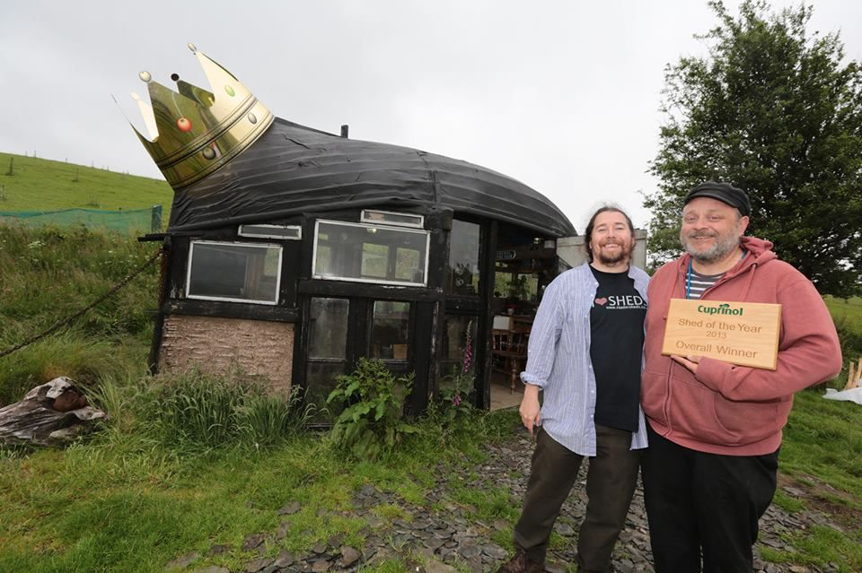 Shed wearing crown Andrew Wilcox founder of the Shed of the Year competition and myself holding winner's plaque
