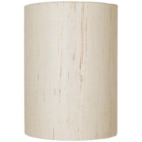 Ivory Linen Drum Cylinder Shade 8x8x11 Spider 00184 Lamps Plus
