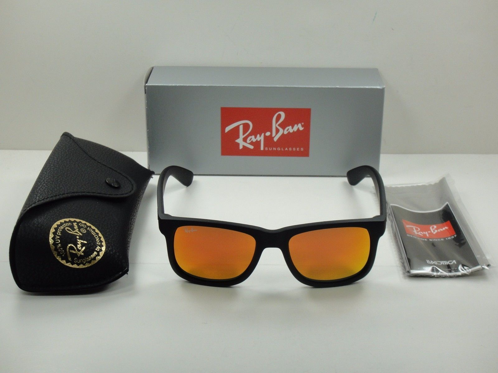 fa87321c1d7 Ray-Ban Justin Color Mix Rubber Black l Red Mirror RB4165 622 6Q 55mm