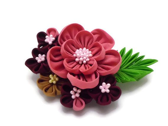 Colorful Kanzashi Floral Hair Comb/ Coral Pink Maroon Green Flowers/ Bridal Kimono/ Fabric Flower/ Wedding/ Gift For Her/ Hair Clip/ OOAK