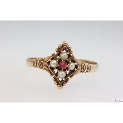 14k-Yellow-Gold-Victorian-Pearl-and-Ruby-Ring-Size-8-Engraved-TAH