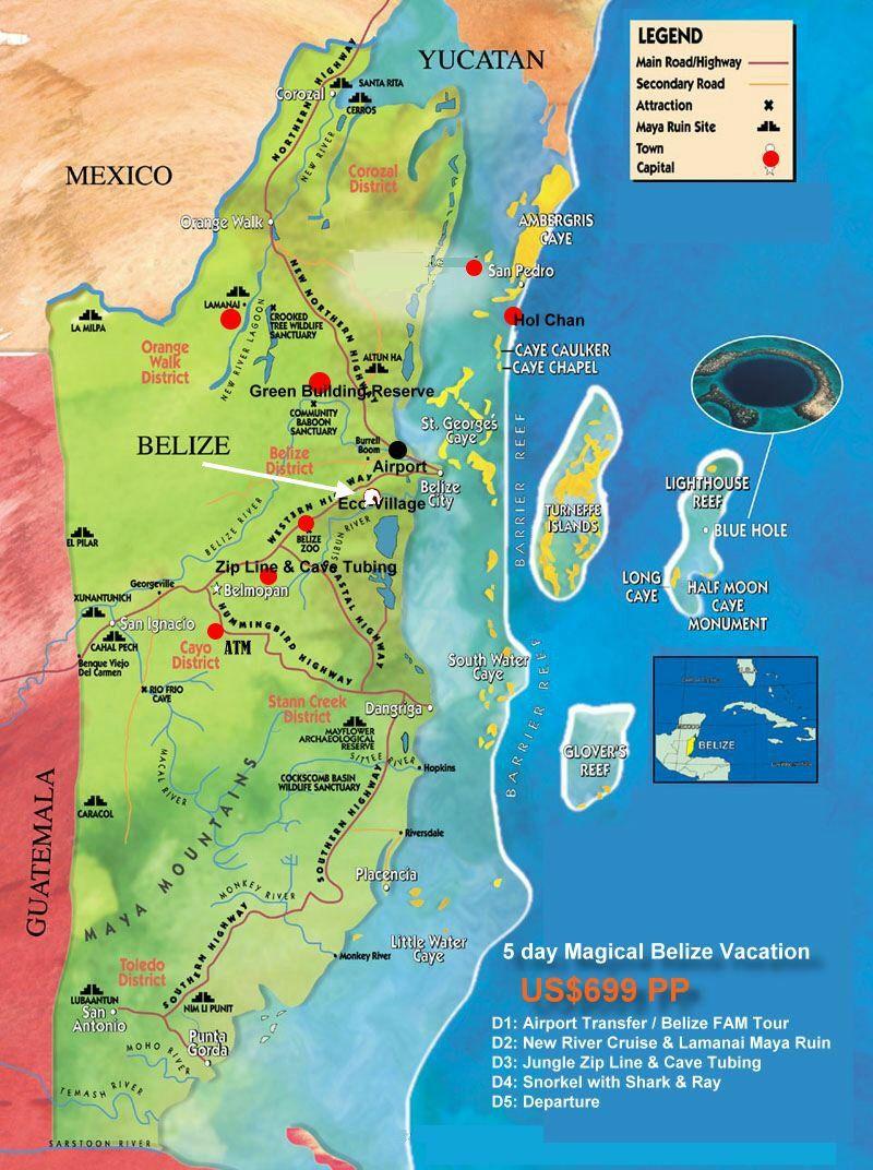 Orchid Garden EcoVillage Hptels And Belize Vacations Belize Map - Belize tourist map