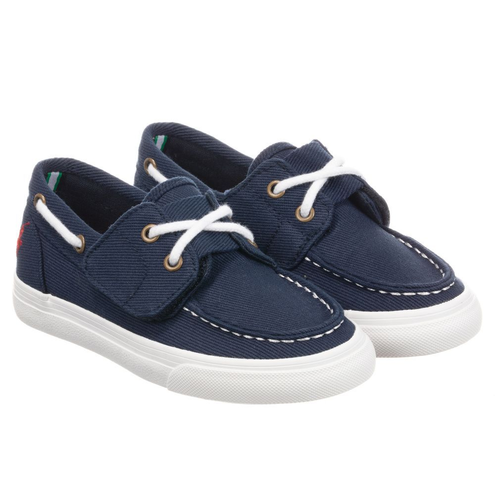 Boys navy blue trainer-style boat shoes