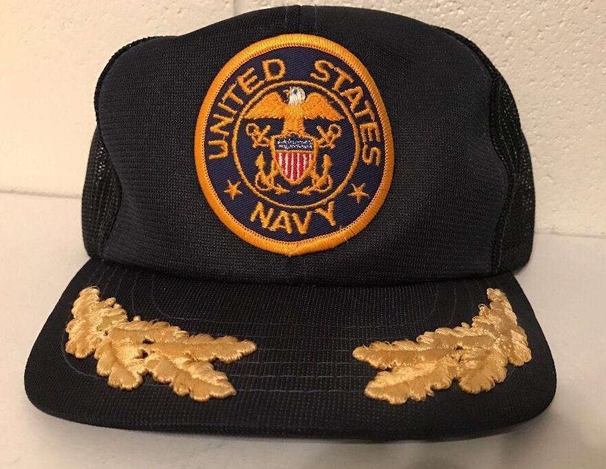 9c8ff2b5e8b Rare VTG United States Navy Gold Leaf Vintage Snapback Hat Cap ...
