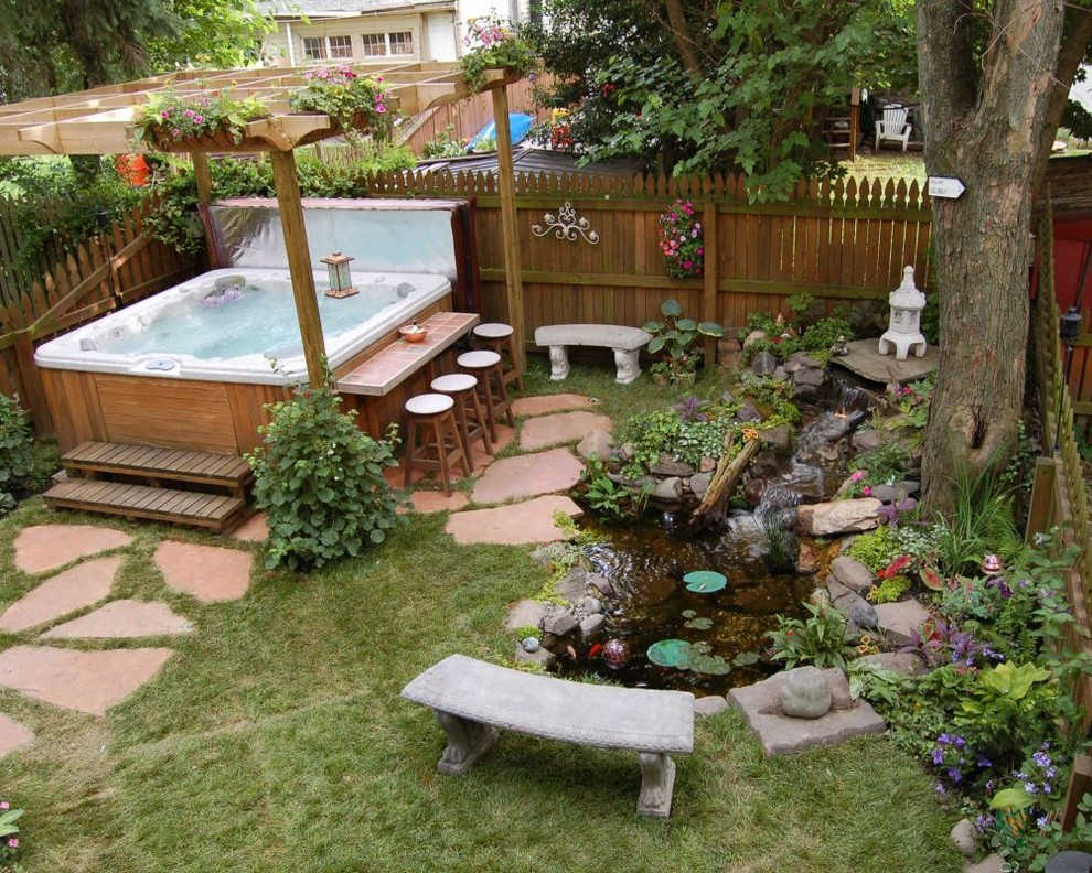 hot-tub-enclosure-ideas-Landscape-Asian-with-above-ground-spa-arbor-backyard