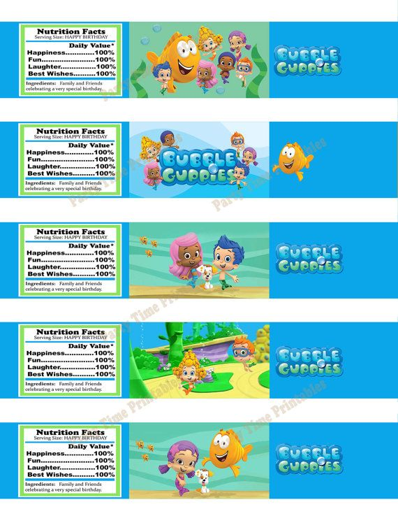 Bubble Guppies Printable Water Bottle Label- Party Printables - water bottle label template
