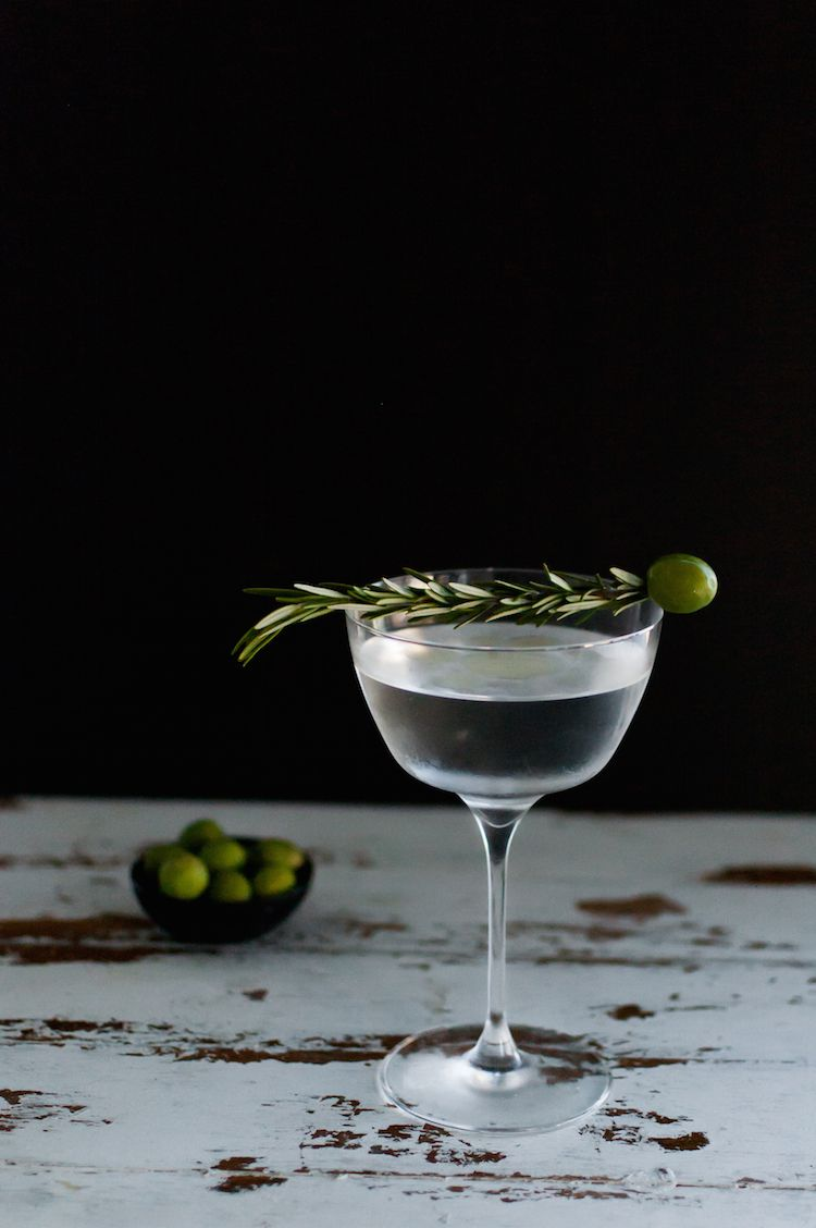 Dirty martini with smoked rosemary olive oil
