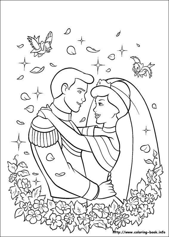 Cinderella Coloring Picture Wedding Pinterest Malvorlagen