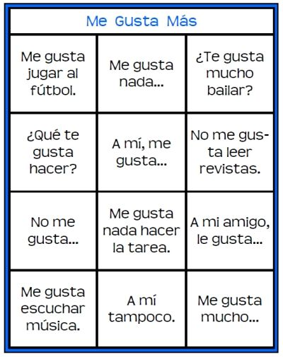 me gusta mas printable spanish game for practicing gustar and saying what you like and dislike. Black Bedroom Furniture Sets. Home Design Ideas