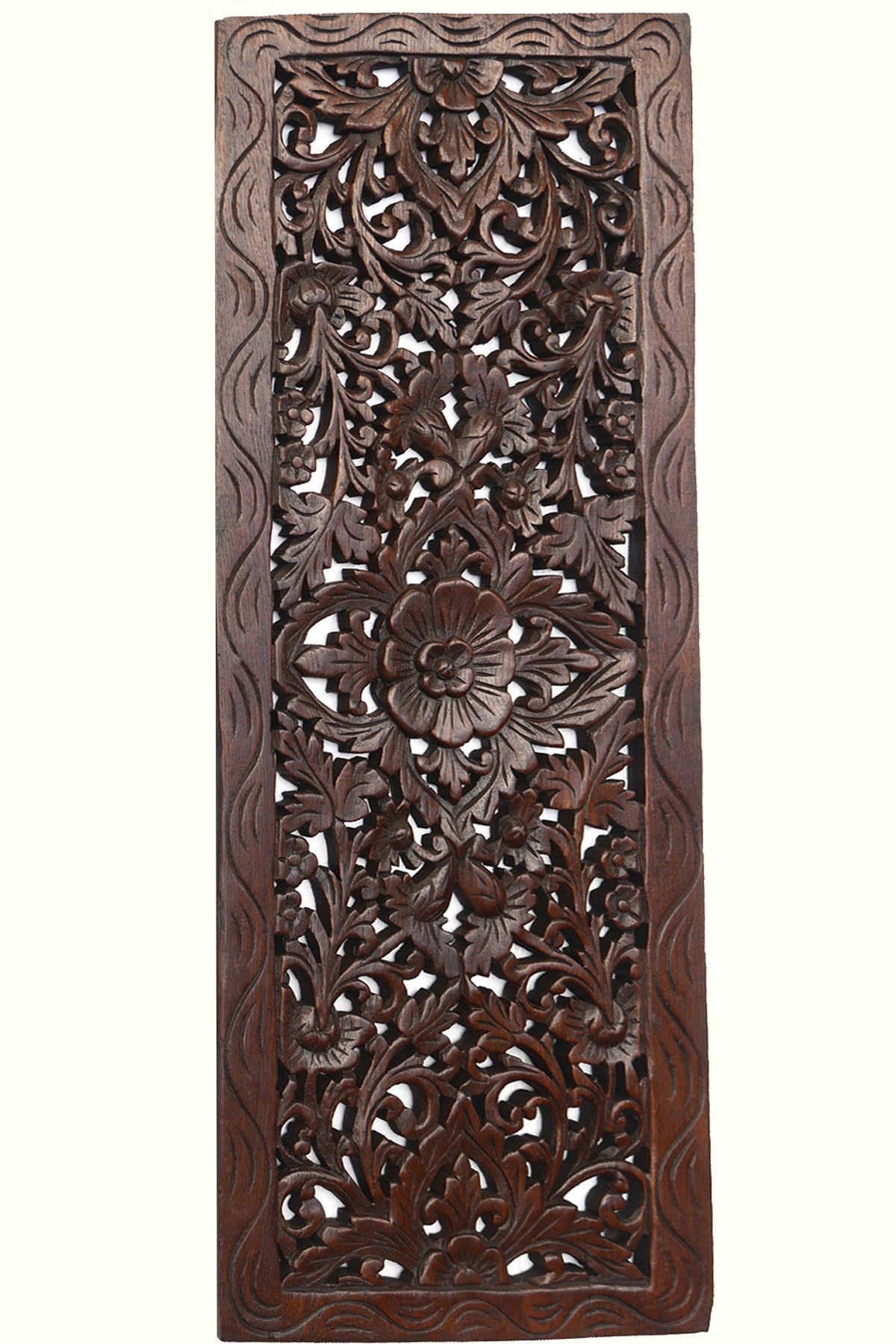 Decorative Wood Wall Panels Floral Wood Carved Wall Panel Decorative Thai Wall Relief Panel