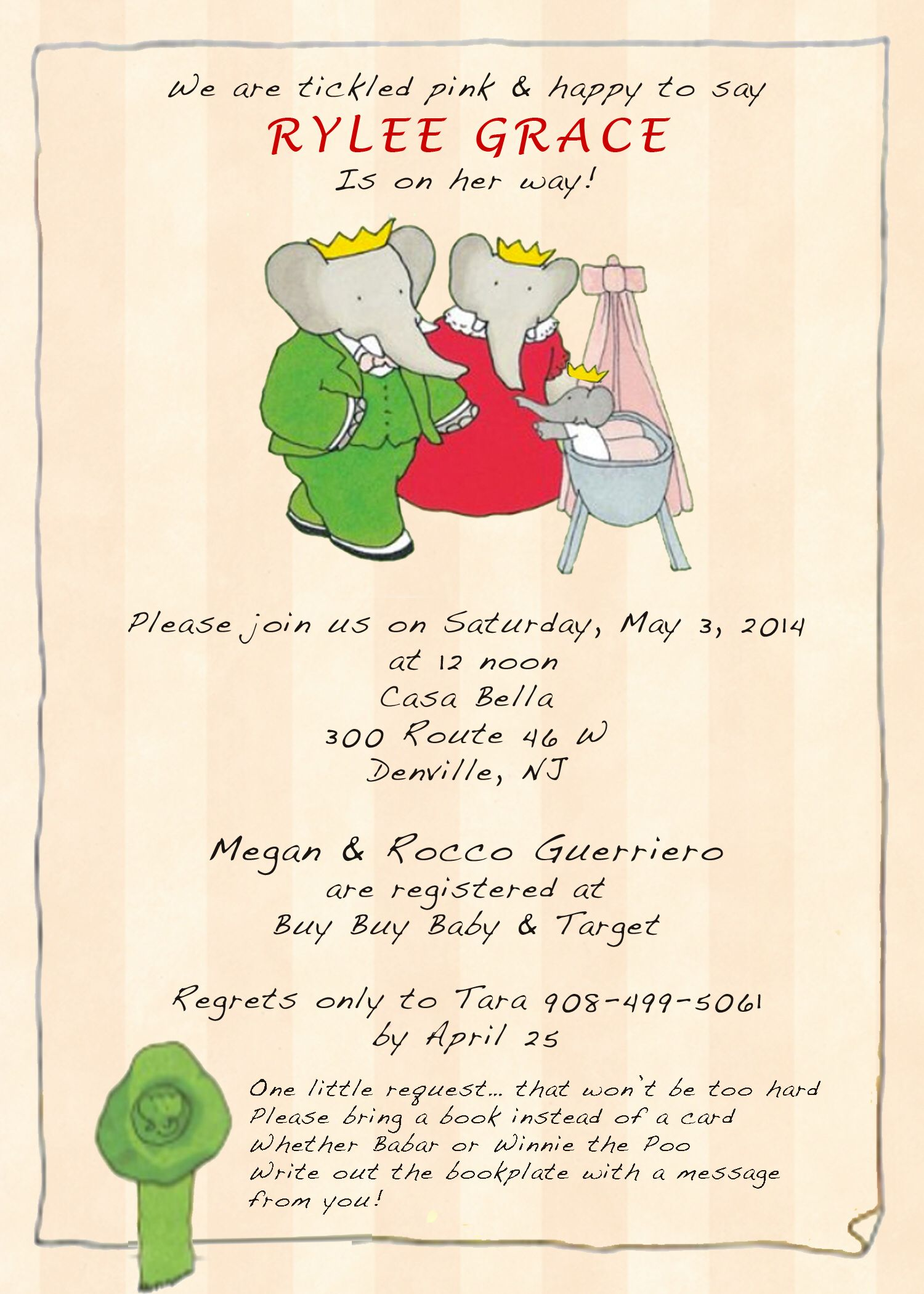 Babar baby shower invitation Baby shower Pinterest