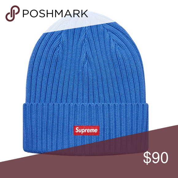 dced8e2c6c9 Supreme - Overdyed Ribbed Logo Beanie 100% authentic . Overdyed ribbed  beanie in washed royal blue from supreme ss18. Red   white classic box logo  on the ...
