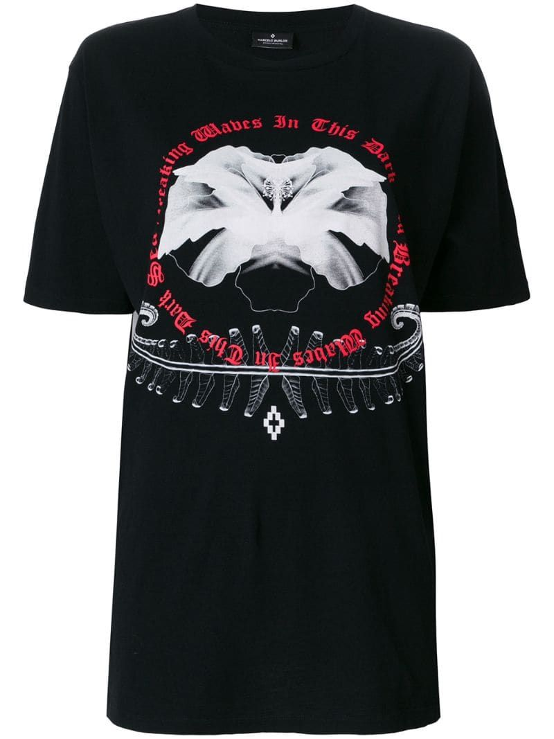 Marcelo Burlon County Of Milan White flower T shirt Black