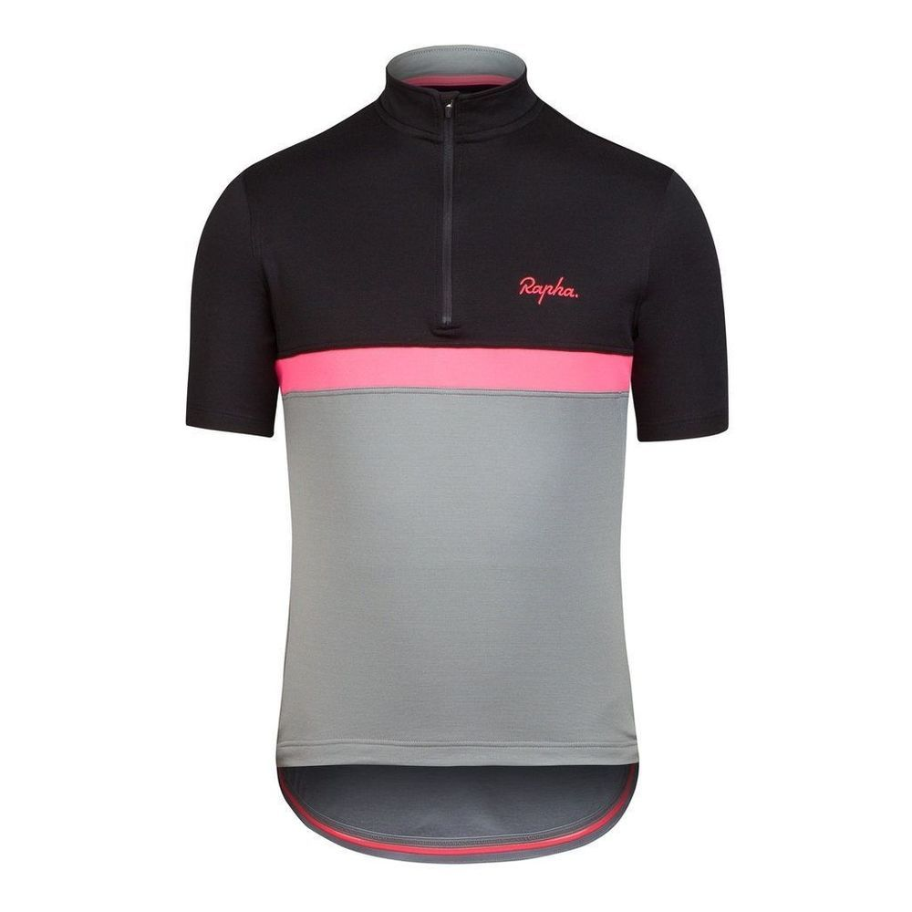 Htf Gray Pink Black Rapha Club Cycling Jersey New With Tags Large