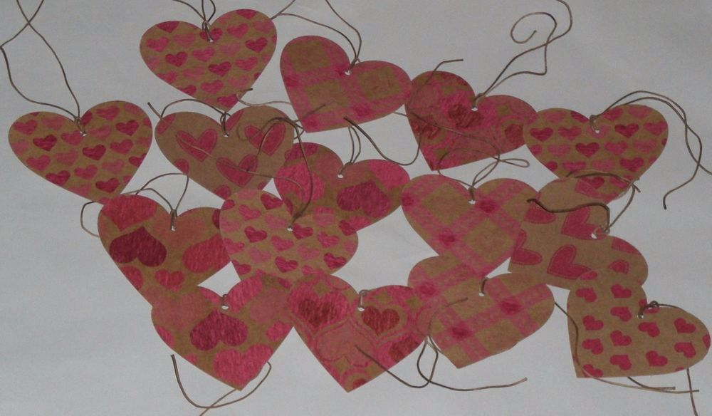 15 Heart Shaped LOVE February 14 Valentine Tree Ornies Hang Tags Gift Ties  #Valentine