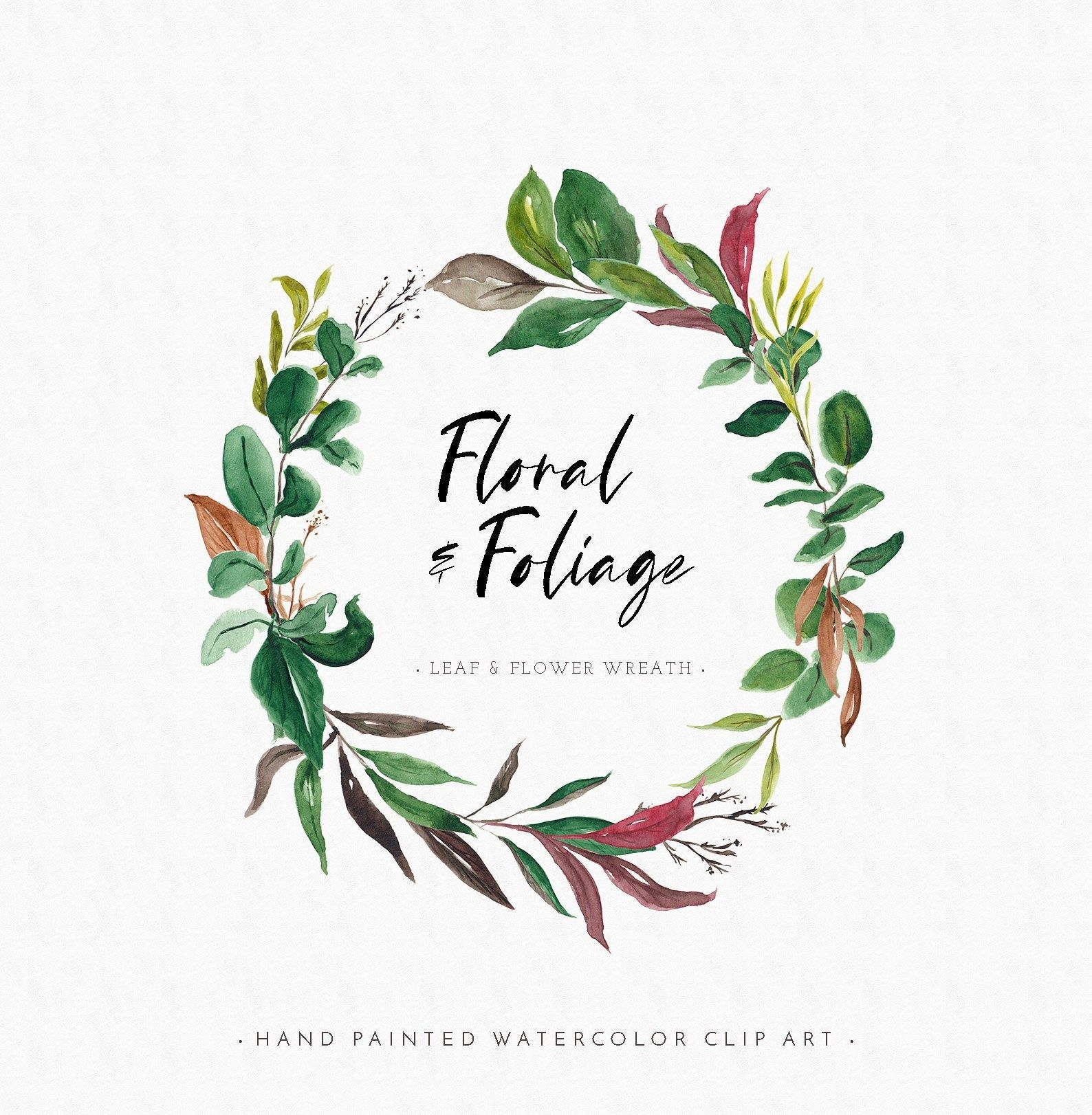 Floral Foliage Watercolor Wreath Wreath Watercolor Leaf Wreath