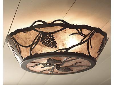 pinecone flush mount pine cones cabin lighting kichler windmill ceiling fan