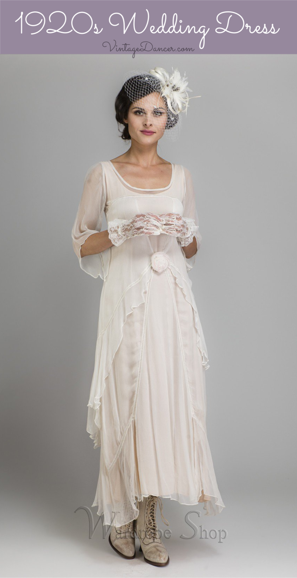 1920s style wedding dress also in plus sizes
