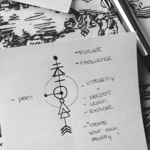 arrow, glyphs, and ink image