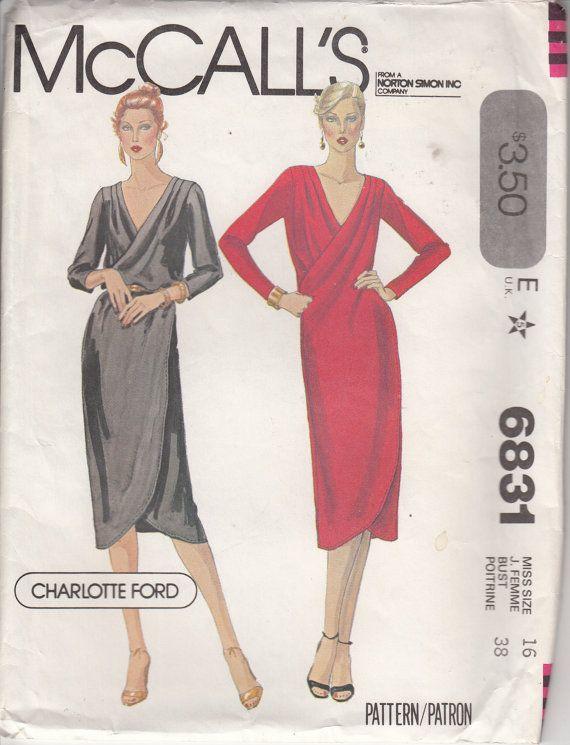 Vintage 80s Faux Wrap Dress Sewing Pattern Charlotte Ford Designer ...