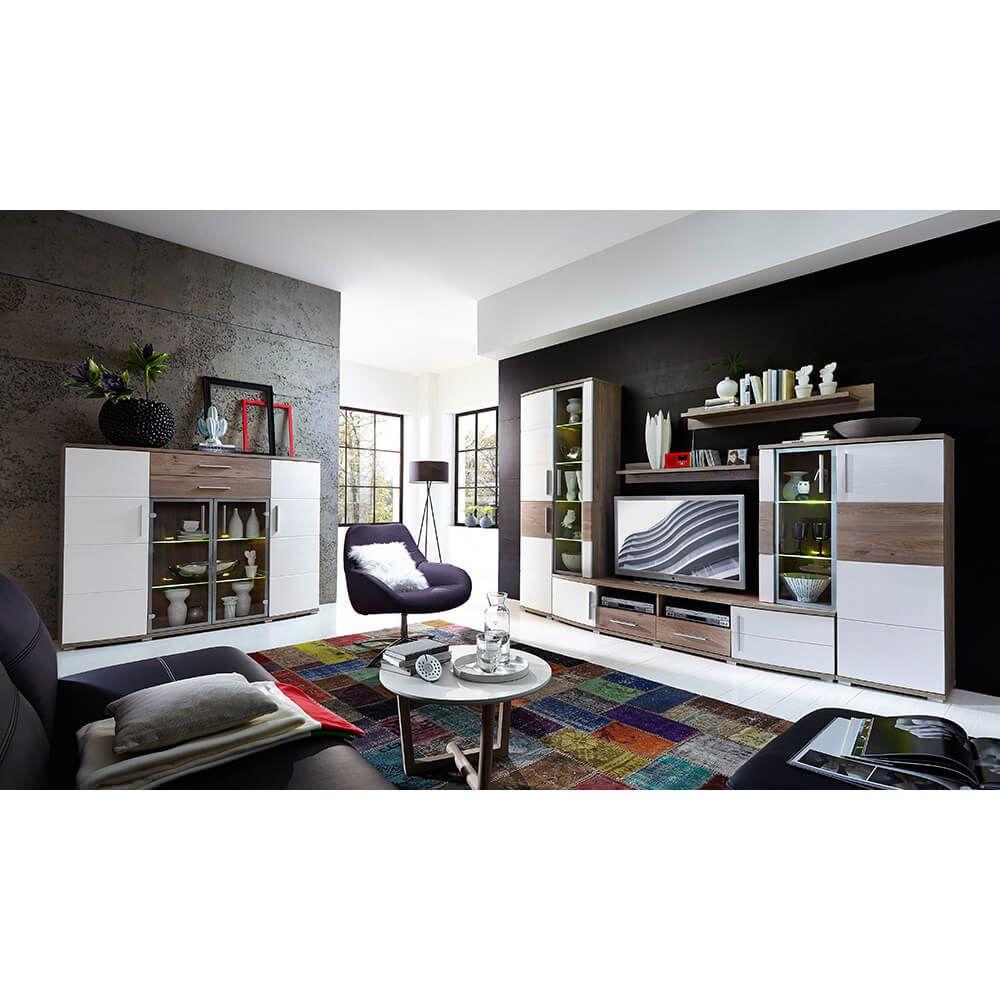 Wohnwand mit Highboard Jam Weiß Silbereiche Jetzt bestellen unter ...