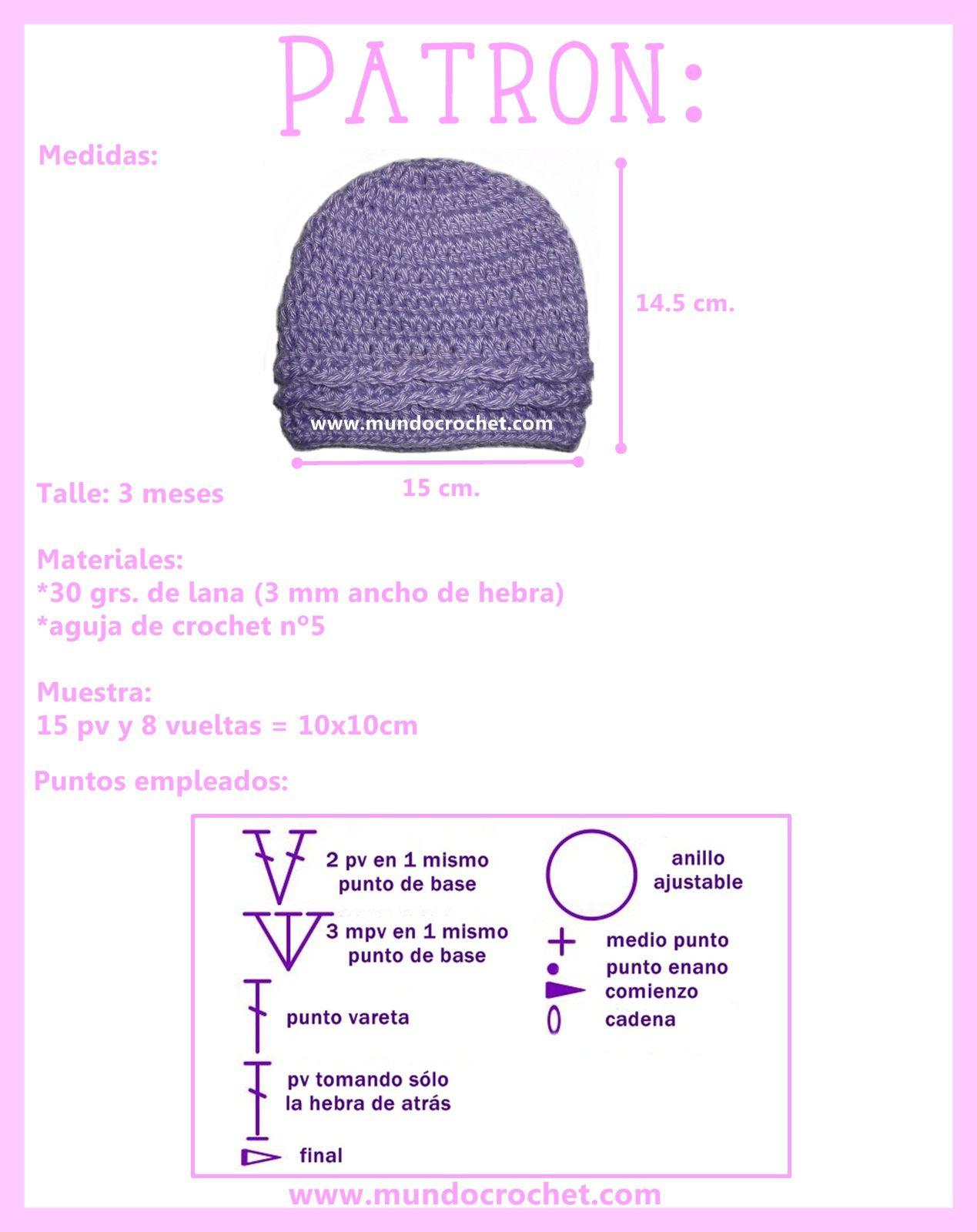 Gorro simple para bebé a crochet | Baby | Pinterest | Crochet ...