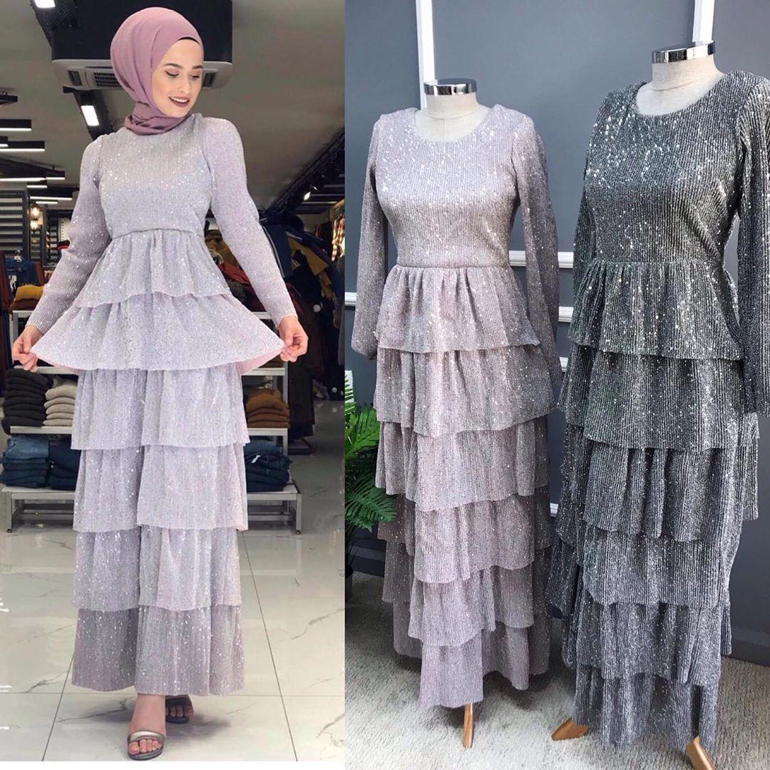 Firfirli Kat Kat Elbisemiz 36 44 Beden Araliginda Boy 137 Cm Simli Payetli Kumas Hijab Fashion Dresses Fashion